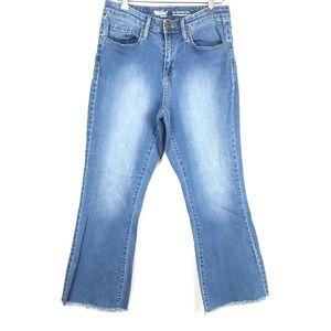 Mossimo Hi Rise Flare Crop Stretch Raw Hem Jeans